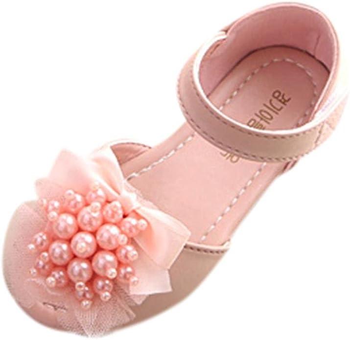 FORESTIME Summer Girls Sandals Pearl Baby Rubber Soles Fringe Floral Princess Shoes Footwear Frist Walker