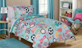 5 Piece Kids Girls Teal Blue Pink Sports Themed Comforter Twin Size Set, Fitness All Stars Bedding Athletic Pattern Soccer Baseball Basketball Stars Lacrosse Volleyball Green, Microfiber Polyester