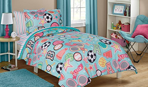 5 Piece Kids Girls Teal Blue Pink Sports Themed Comforter Twin Size Set, Fitness All Stars Bedding Athletic Pattern Soccer Baseball Basketball Stars Lacrosse Volleyball Green, Microfiber Polyester by D.I.D.