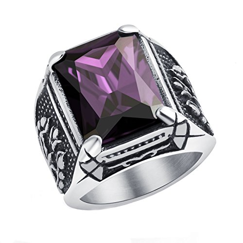 Men's Dragon Claw Ring Purple Crytsal Gothic Band for Men Stainless Steel Ring Size 11 Halloween (Halloween Lip Tattoos Uk)