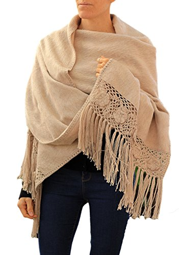 TINKUY PERU - Peruvian Alpaca Wool - Women's Crochet Hand - Knitted Flowers Pashmina Shawl Wrap (Beige) - Hand Knitted Wool