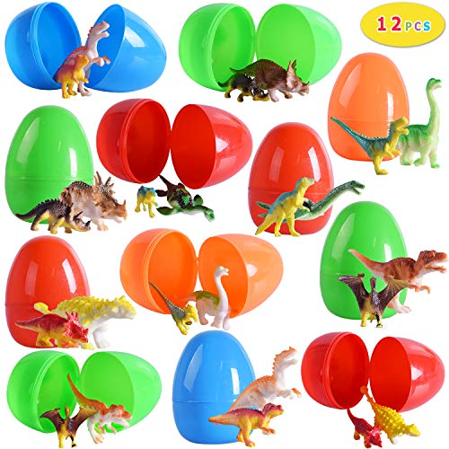 Max Fun Easter Eggs with Toys Inside(Pack of 12), 3.7'' Bright Colorful Plastic Surprise Eggs with 24 Dinosaur Toys for Kids Party Favors ()