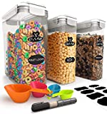 Chef's Path Cereal Storage Container Set - 100% Airtight Best Food Storage Containers, 8 FREE Labels, Spoon Set & Pen, Great for Flour, Sugar & More - BPA Free Dispenser Keepers (16.9 Cup 135.2oz) 3PC