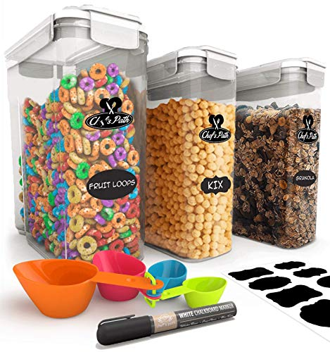 Chef's Path Cereal Storage Container Set - 100% Airtight Best Food Storage Containers, 8 FREE Labels, Spoon Set & Pen, Great for Flour, Sugar & More - BPA Free Dispenser Keepers (16.9 Cup 135.2oz) 3PC from Chef's Path