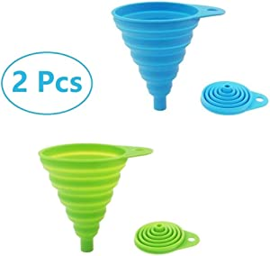 2 Pack Silicone Collapsible Funnel, Flexible/Foldable/Kitchen Funnel for Water Bottle Liquid Transfer Narrow and Wide Mouth Funnels Hopper (Green and Blue)