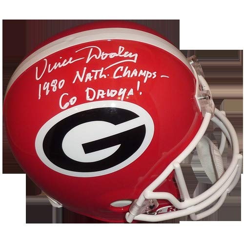 Vince Dooley Autographed Signed Auto Georgia Bulldogs Deluxe Full-Size Replica Helmet 1980 National Champs, Go Dawgs - Certified Authentic Bulldogs Deluxe Replica Helmet