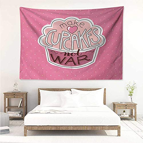 Funny Words,Wall Tapestries Hippie Make Cupcakes Motivational Lettering on Yummy Pastry and Polka Dots 93W x 70L Inch Beautiful Wall Hanging Pink Dried Rose Peach ()