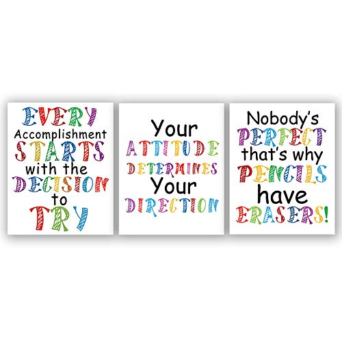 """(Watercolor Words Art Print Inspirational Quote&Saying Modern Typography Art Picture Set of 3 (8""""X10"""" Canvas Painting,Motivational Phrases Wall Art Poster for Nursery or Kids Room Home Decor,No Frame)"""