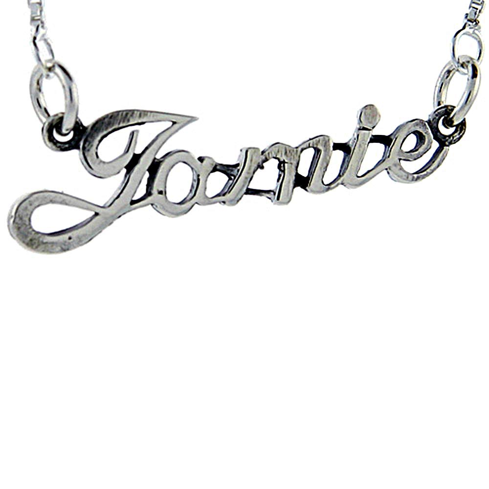 Sterling Silver Name Necklace Jamie 3//8 Inch 17 Inches Long