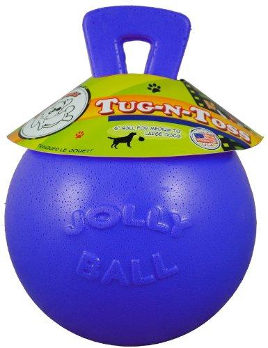 Jolly Pets Tug-N-Toss Jolly Pet Toy Ball, 6-Inch, Blueberry, My Pet Supplies