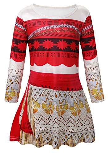 Cotrio Moana Princess Dresses Girls Adventure Outfit Long Sleeve Halloween Costumes Kids Theme Birthday Party Teens Cosplay Dress Up Size 12 (11-12 Years, Red, 150)