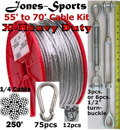 - Pinnon Hatch Farms/ Jones Sports Batting Cage Cable Suspension Kit 70' X-Heavy Duty in/Out Door Baseball Softball (with 6 Turnbuckles)