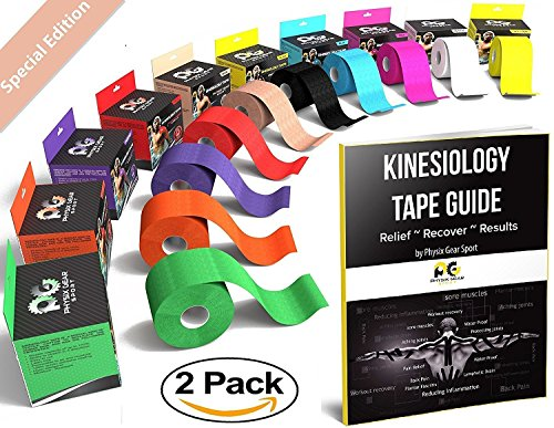 Kinesiology Tape (2 Pack or 1 Pack) by Physix Gear Sport, Best Waterproof Muscle Support Adhesive, 2in x 16.4ft Roll Uncut, Physio Therapeutic Aid for Injury Recovery, Free 82pg E-Guide -BEIGE 2 PACK (Soccer Sports Outdoors Sporting Goods)