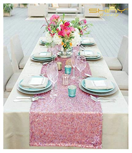 ShiDianYi Fuchsia Pink Table Runners Pack of 10 Baby Birthday Decorations Rose Pink Party Runner 14x108-Inch (Pink Gold) ~0911S ()