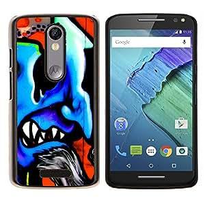 For Motorola Moto X 3rd / Moto X Style - Evil Blue Devil Graffiti /Modelo de la piel protectora de la cubierta del caso/ - Super Marley Shop -