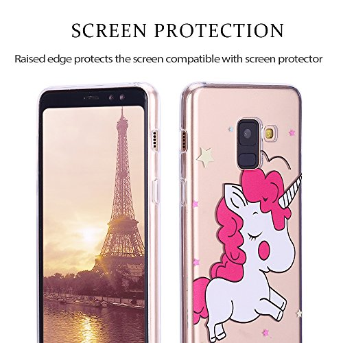 Funda Galaxy A8 2018, RosyHeart Carcasa Suave Transparente gel Silicona TPU Cover para Samsung Galaxy A8 2018 SM-A530F A530F/DS (5,6 pulgada) [Ultra ligero y claro] Flexible Antigolpes y Anti-arañazos Gran unicornio