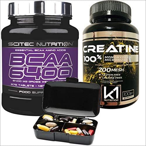 Scitec Nutrition BCAA 6400 Verzweigtkettige Aminosäuren + Kreatinmonohydrat, 375 Tabletten, 100g 100% Kreatin + Nutriline-Tablettendose.