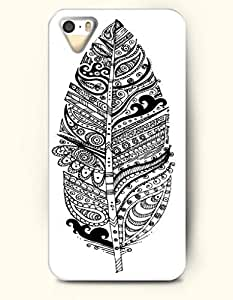 iPhone 5 5S Hard Case (iPhone 5C Excluded) **NEW** Case with Design Aztec Leaf- ECO-Friendly Packaging - Black And White Drawing Pattern Series (2014) Verizon, AT&T Sprint, T-mobile