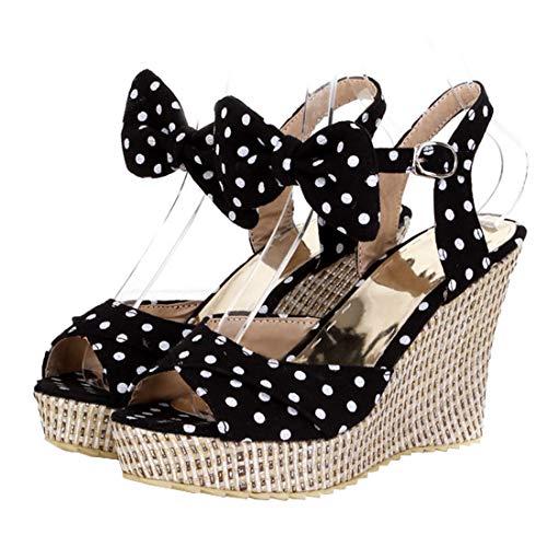 (Vitalo Womens Bow Wedge Sandals Polka Dot Peep Toe Platform Pumps Size 6 B(M) US,Black)