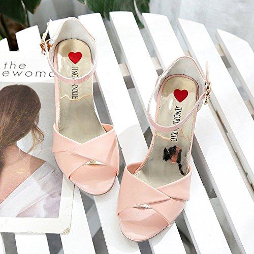 GAOLIM La Correa Gruesa Y Con Sandalias De Verano Mujer Tacones Altos Paquete Con Ranuras Para Zapatos De Mujer Rosa