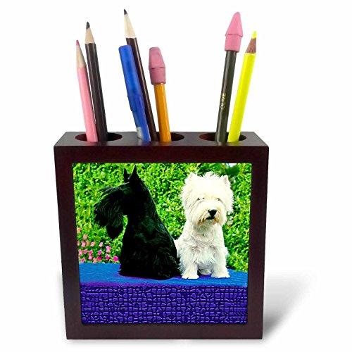 (Dogs Scottie And Westie - Scottie And Westie - 5 inch tile pen holder (ph_506_1))