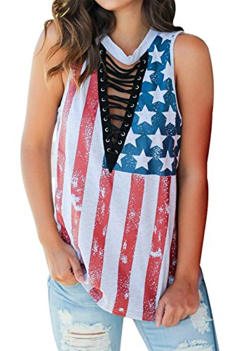 Women American Flag Tank Top Sexy Deep V Neck Lace up Sleeveless Blouse Top Size M (White) (July Womens V-neck T-shirt)