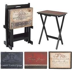 Cape Craftsman TV Tray Set Stand, Tuscan Wine, Set of 4
