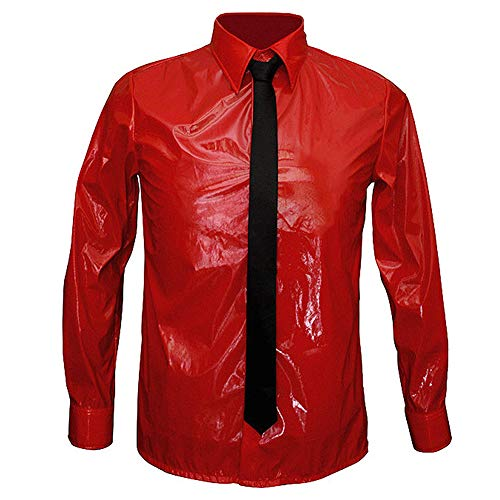 Fastcar7 Michael Jackson Costume with Free Tie Dangerous Patent Leather Shirt Red Pack of 2 (S)]()