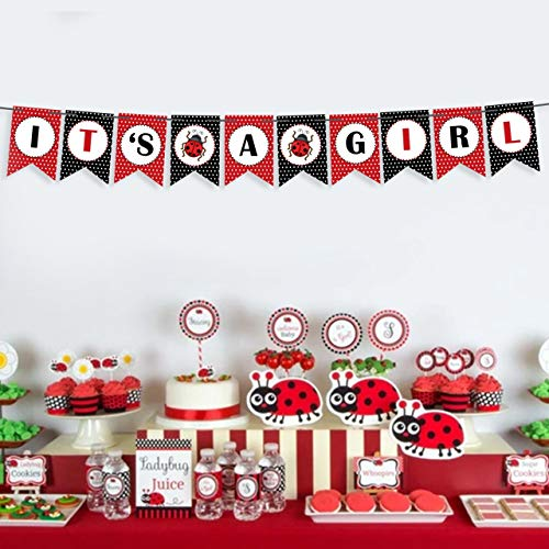Ladybug Baby Shower Theme (ITS A GIRL Miraculous Ladybug Party Supplies Welcome Baby Shower Happy Little Banner-Highchair Banner 1st Birthday Girl Red And Black Decoration-Girl 12 Month Banner First Birthday Hanging)