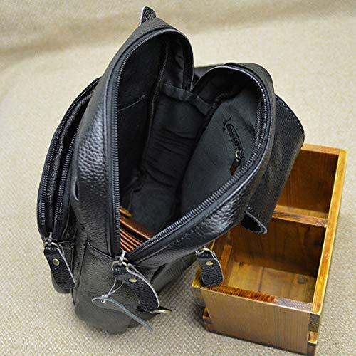 Piel Crossbody Viaje Cintura Bolso para Negro Negro Mochila Hombres pequeño Ocio Bolso Deportiva Aire de de al Bolso Bandolera Paquete Multifuncional Genuina OMMILA de Libre Bolsa qvET00
