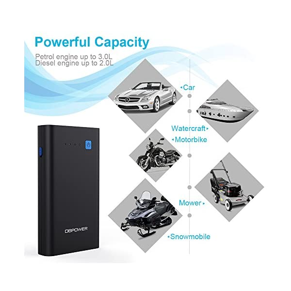 DBPOWER 500A 10800mAh Portable Car Jump Starter Up To 30L Gas 20L Diesel Engine Auto Power Pack Battery Booster Power Bank Phone Charger With QC30 Type C Output LED Flashlight With 3 Modes