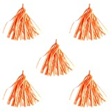 Qinlee 5Pcs Tissue Paper Tassel Orange Garland DIY Fringe Garland Nursery Banner Garland for Wedding,Baby Shower,Party,Birthday Decor- 14 Inch Long