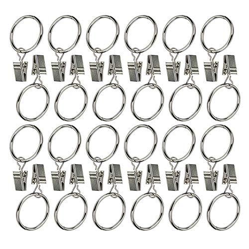 - Ogrmar 24Pcs Nickel plating Metal Curtain Clip Rings (24)
