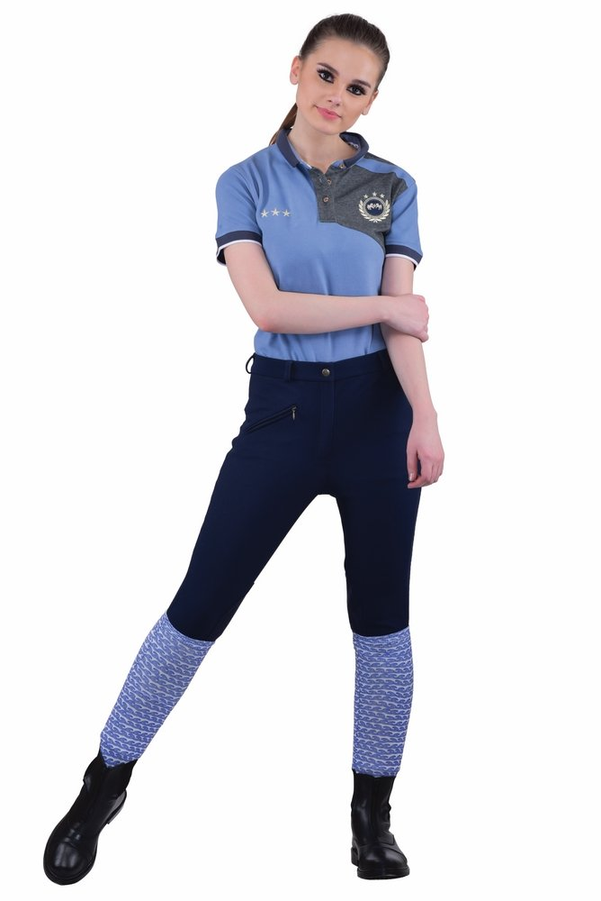 TuffRider Women's Ribb Knee Patch Breeches (Regular), Navy, 24