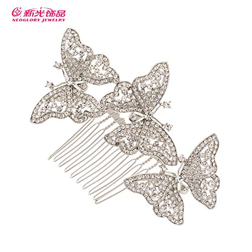 Rhinestone Crystal 3 Butterfly Hair pin Hair Comb Women Wedding Hair Jewelry Accessories 1469R