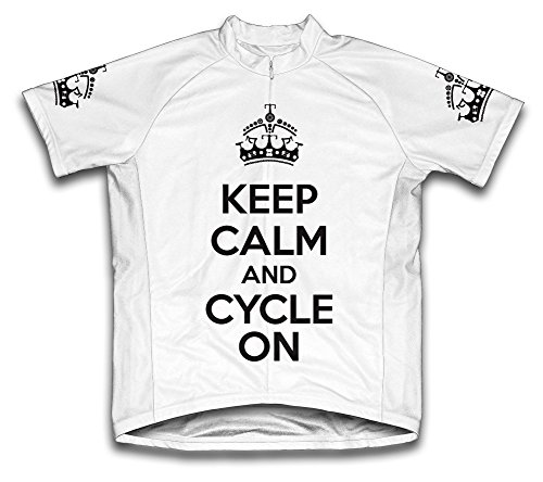 Keep Calm and Cycle On Microfiber Short-Sleeved Cycling Jersey, White, XX-Large - Microfiber Bicycle Jersey