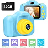 Kids Camera, Ufinetec Digital Photo & Video Toy Camera Gift for Boys and Girls Aged 4-12 Years Old, 2.0inch IPS HD Screen Shock-Proof Mini Toddler Camcorder with 32GB SD Card Included (Blue)
