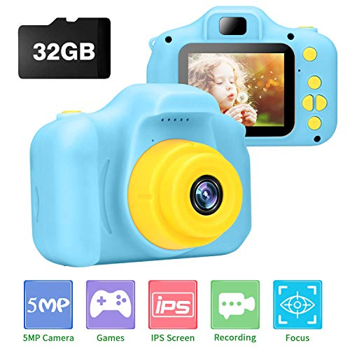 Kids Camera, Ufinetec Digital Photo & Video Toy Camera Gift for Boys and Girls Aged 4-12 Years Old, 2.0inch IPS HD Screen Shock-Proof Mini Toddler Camcorder with 32GB SD Card Included (Blue) from Ufinetec