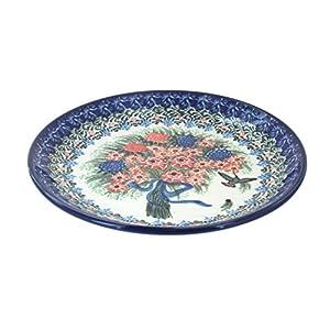 Blue Rose Polish Pottery Blush Bouquet Dessert Plate