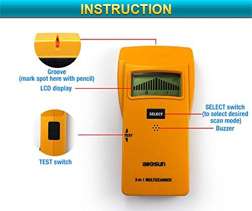 all-sun Wood Stud Finder Electronic Sensor Wood Stud / Metal Detector / AC Electrical Scanner 3 in 1 Multi-Scanner