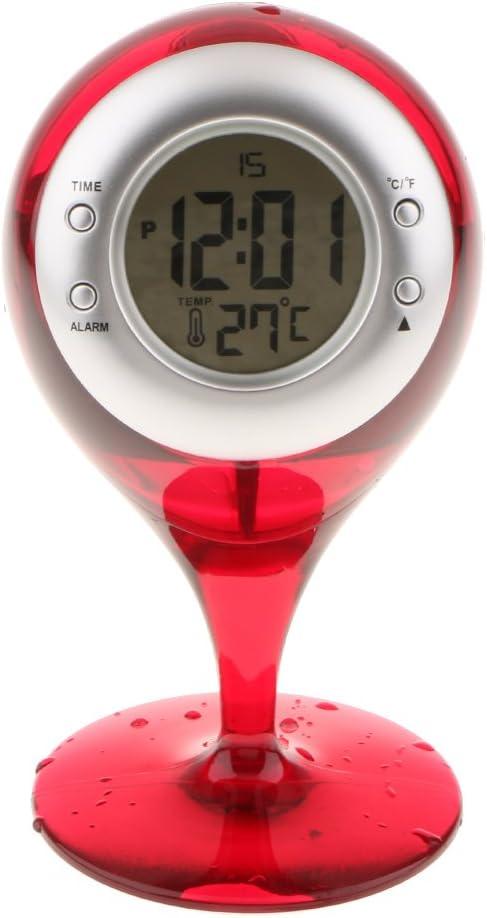 Rouge LOVIVER /Écran LCD Hydrodynamique /À Eau R/éveil Temp/érature Calendrier Spectacle