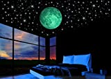 #10: Glow in the Dark Stars w/ Bonus 20cm Full Moon Wall Decal -2017 DESIGN-Set of 230 Stars & Large Moon, Long Lasting, Realistic and Bright Glow: Perfect Gift, Room Decor, Decoration and Wall Sticker