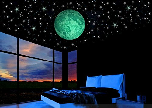 Glow in the Dark Stars w/ Bonus 20cm Full Moon Wall Decal -2017 DESIGN-Set of 230 Stars & Large Moon, Long Lasting, Realistic and Bright Glow: Perfect Gift, Room Decor, Decoration and Wall Sticker (Bedroom Women Simple Ideas For)