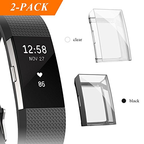 Fibit Charge 2 Screen Protector, iHYQ Slim Soft Full Cover Case for Fitbit Charge 2 Smart Watch (black)