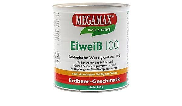 MEGAMAX - Eiweiss - Proteínas de suero de leche y proteínas lácteas - Crecimiento muscular y dieta - Valor biológico aprox. 100 - Fresa - 750 g: Amazon.es: ...