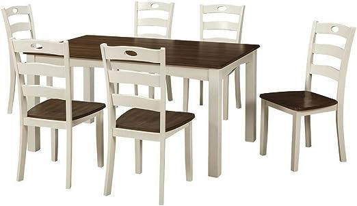 Juego de mesa de comedor EFD de 7 piezas, 6 asientos, dos tonos, blanco, marrón, moderno,