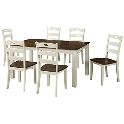 490cc91e15 EFD 7PC Dining Room Table Set 6Seat Two Tone White Brown Modern Rectangular  Wooden Large Formal