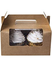 [25pcs] Cupcake Boxes 2 cavity Containers, ONE MORE Kraft Cupcake Holders Carrier for two with Insert & Handles and PVC Window For Birthday Party (Brown)
