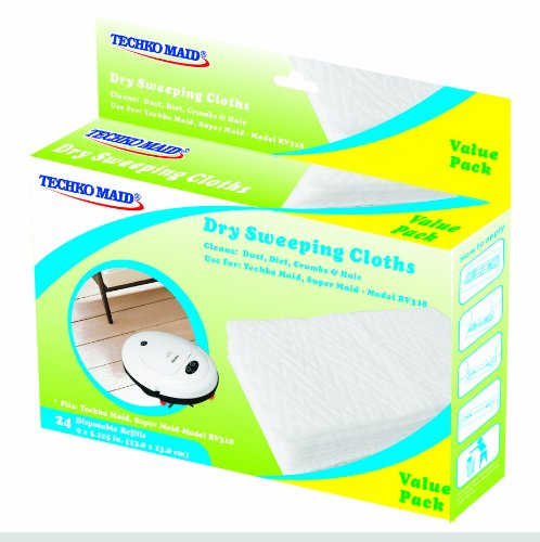 Techko Maid Dry Cloths for Techko Maid RV318 Robotic Vacuum, High-Speed Sweeper and Mopping Machines (24-Pack) RM021
