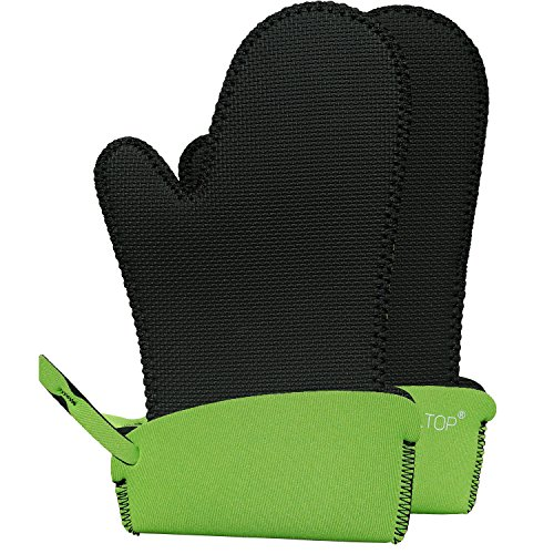 ALLTOP Neoprene Oven Mitts Oven Mitts Heat Resistant for Kitchen BBQ Cooking Baking Grill Barbecue,500 Fahrenheit Degrees at Least 45 Second,Black Green,1 Pair